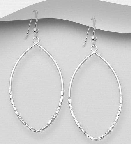 925 Sterling Silver Oval Hammered Hook Earrings